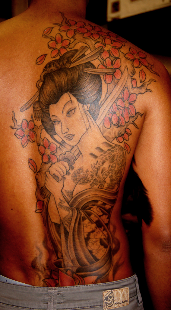 Japanese Geisha n Cherry Blossoms Tattoo On Side Back