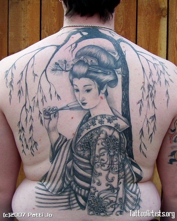 Japanese Geisha Tattoo On Back Body For Men