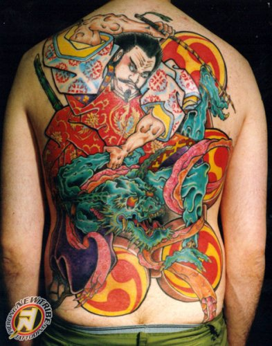 Japanese Warrior n Dragon Tattoo On Back