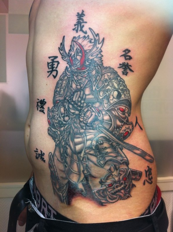 Japanese Warrior Tattoo On Rib Side