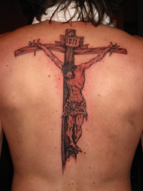 Jesus Christ On Cross Tattoo On Back