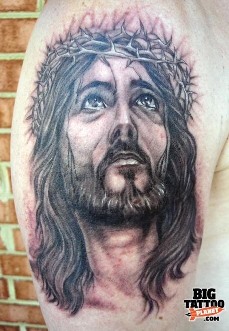 Jesus Christ Portrait Tattoo On Biceps