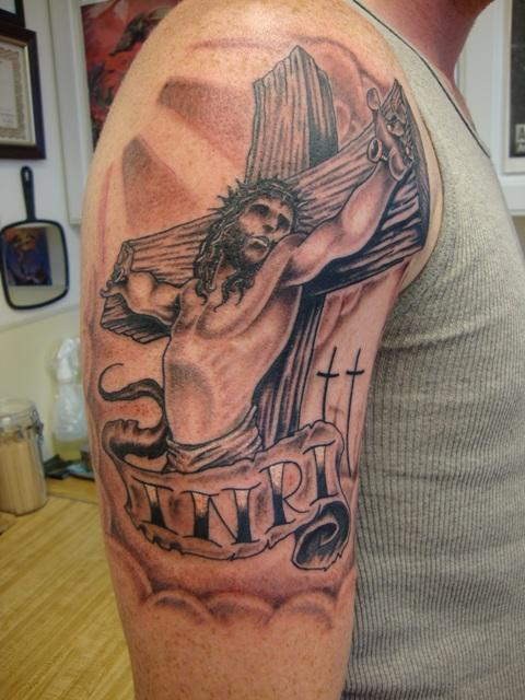 Jesus Cross Tattoo On Right Shoulder