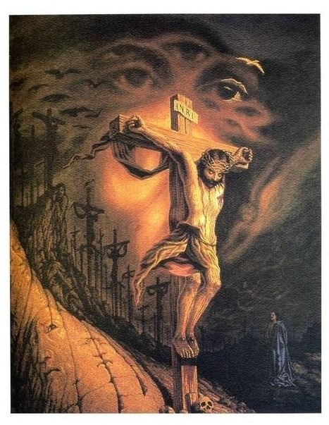 Jesus Face And Jesus On A Cross Tattoo Design