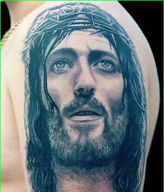Jesus Face Portrait Tattoo On Shoulder