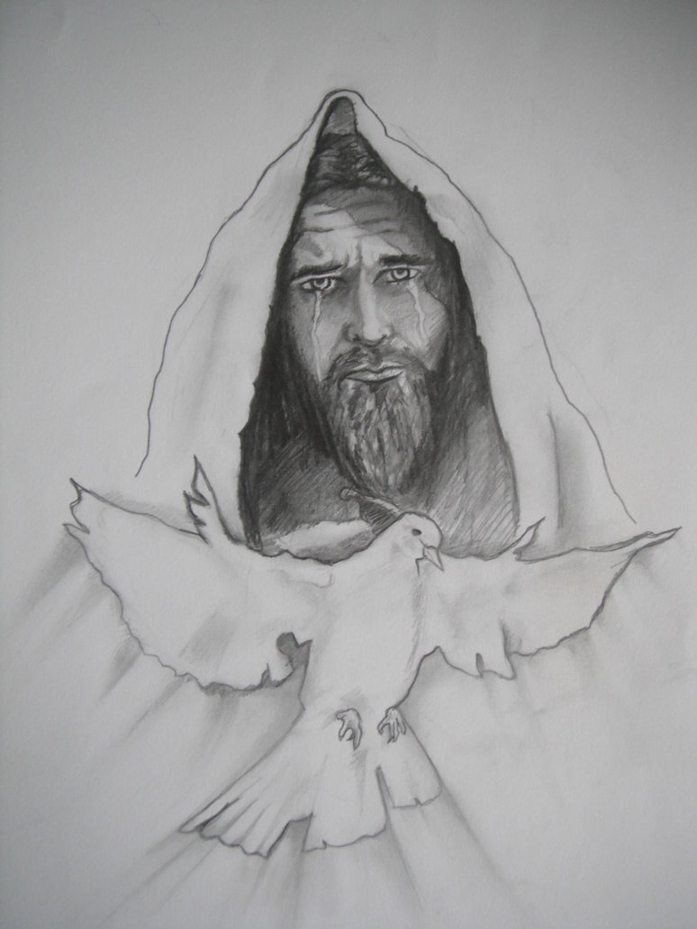 Jesus n Dove Tattoo Sketch