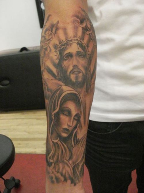 Jesus n Virgin Mary Tattoo On Arm