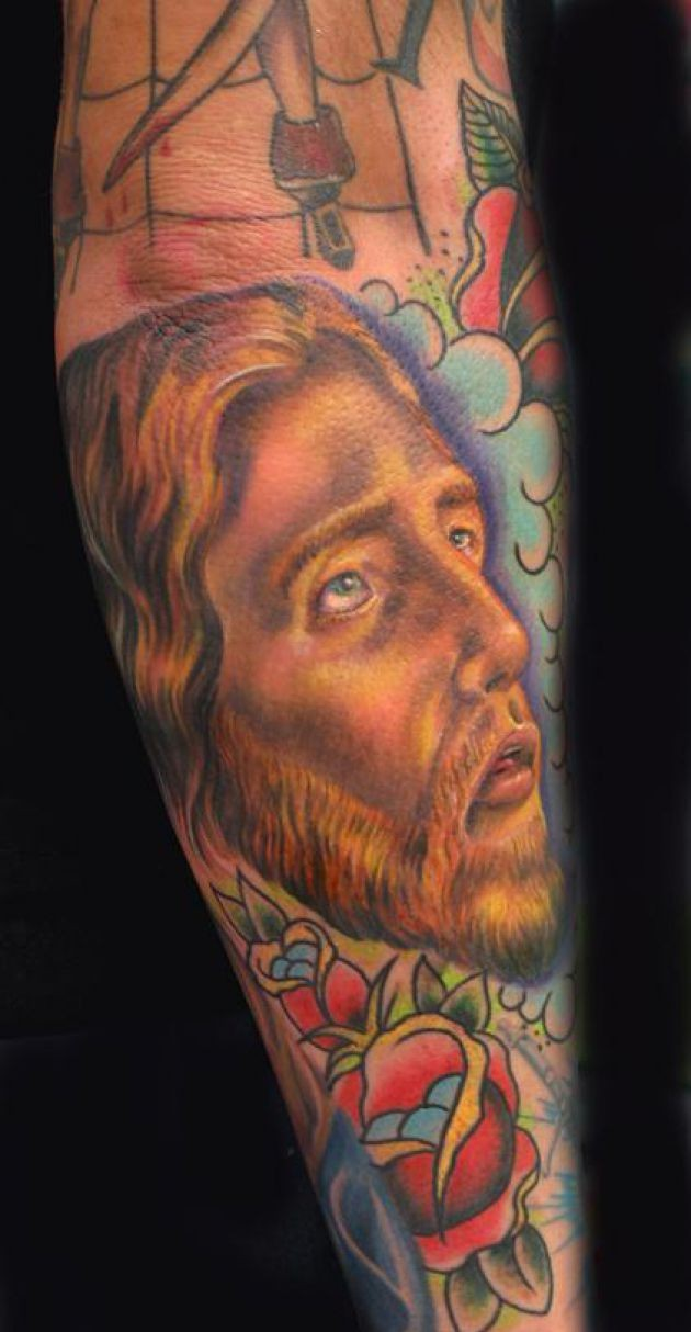 Jesus Portrait n Rose Tattoo On Sleeve