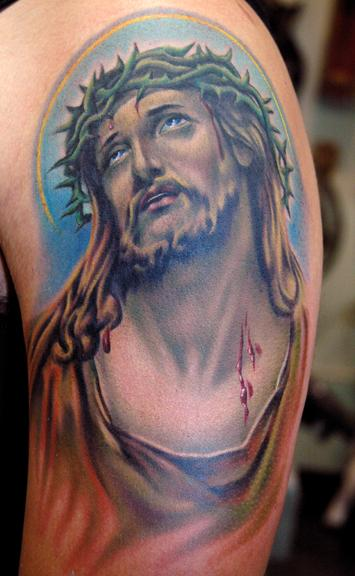 Jesus Portrait Tattoo On Arm