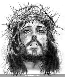 Jesus With Crown Of Thorns Tattoo Design