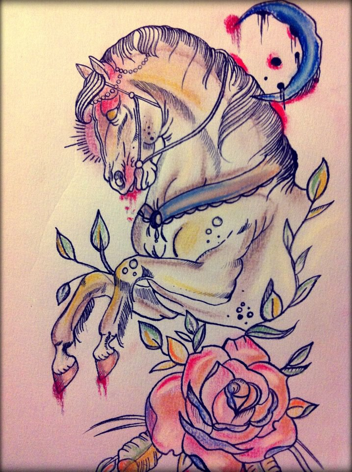 Jumping Horse n Rose Tattoo Design