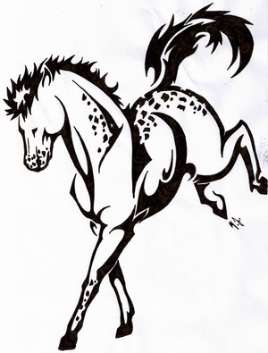 Jumping Tribal Horse Tattoo Sample