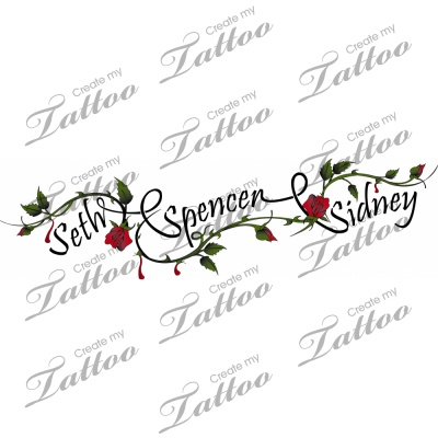 Kids Name n Ivy Vine Tattoo Design