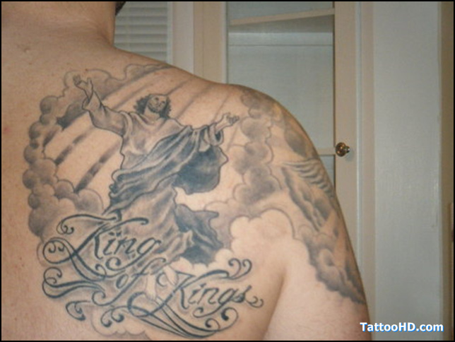 Kings Of Kings Jesus Tattoo On Back Shoulder