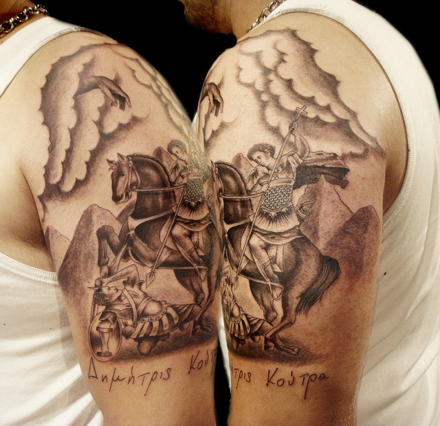 Knight Horse Tattoo On Biceps