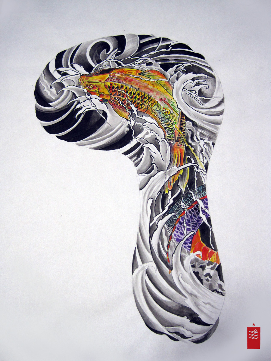 Koi Fish Japanese Sleeve Tattoo Design