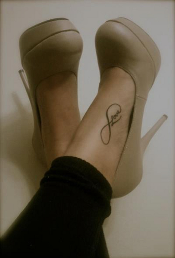 Love Infinity Tattoo On Foot For Girls