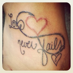 Love Never Fails Infinity Tattoo Design