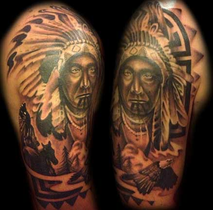 Native American Indian Chief Portrait Tattoo Design