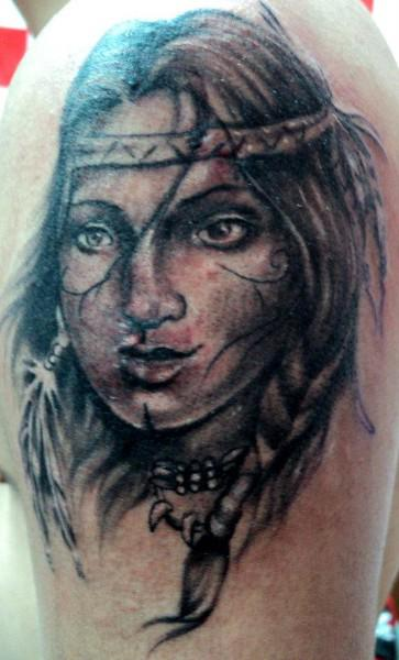 Native American Indian Girl Tattoo Design