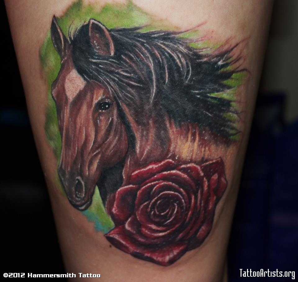 Realistic Horse Head n Rose Tattoo Design