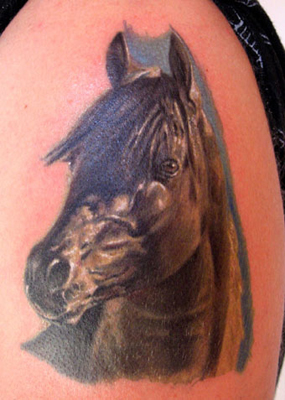 Realistic Horse Head Tattoo On Shoulder