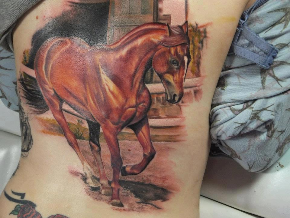 Realistic Horse Tattoo On Back Tattoobitecom