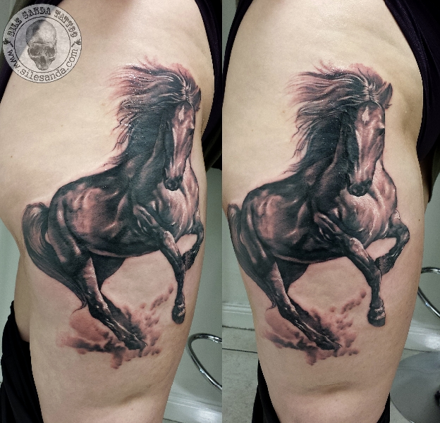Realistic Horse Tattoo On Biceps