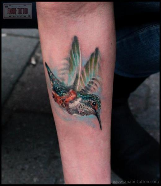 Realistic Hummingbird Tattoo On Forearm