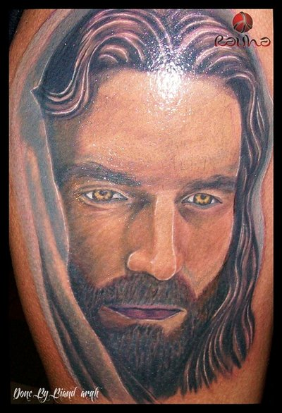 Realistic Portrait Tattoo Of Jesus