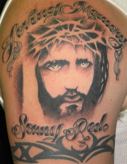 Religious Jesus Tattoo On Shoulder
