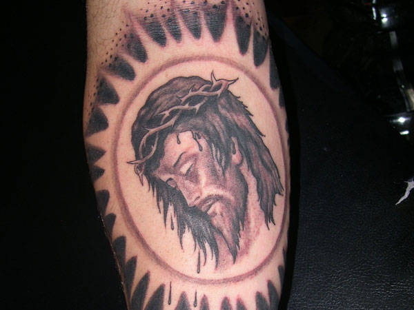 Sad Jesus Head Tattoo Design