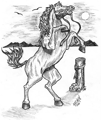 Standing Horse Tattoo Design