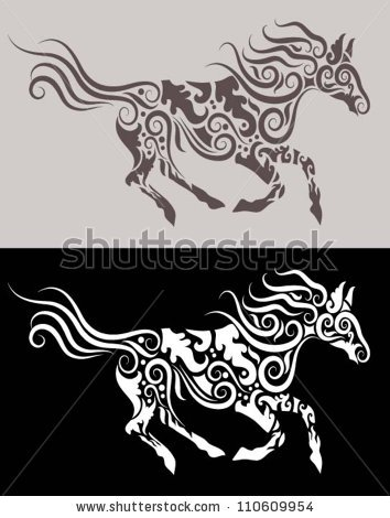 Stock Vector Horse Tribal Vector Running Horse With Floral Ornament Decoration For Tattoo