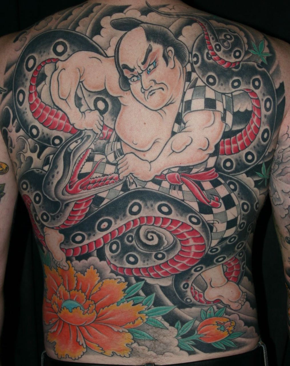 Sumo Wrestler And Snake Japanese Back Tattoo Design