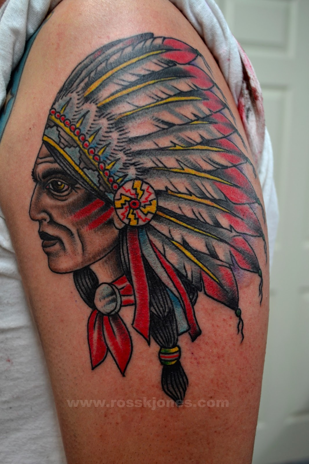 Traditional Indian Chief Tattoo On Biceps