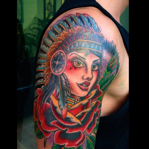 Traditional Indian Tattoo Design On Shoulder