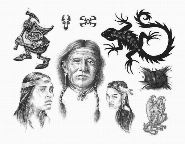 Tribal American Indian Tattoo Designs