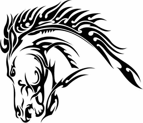 Tribal Horse Head Tattoo Sample