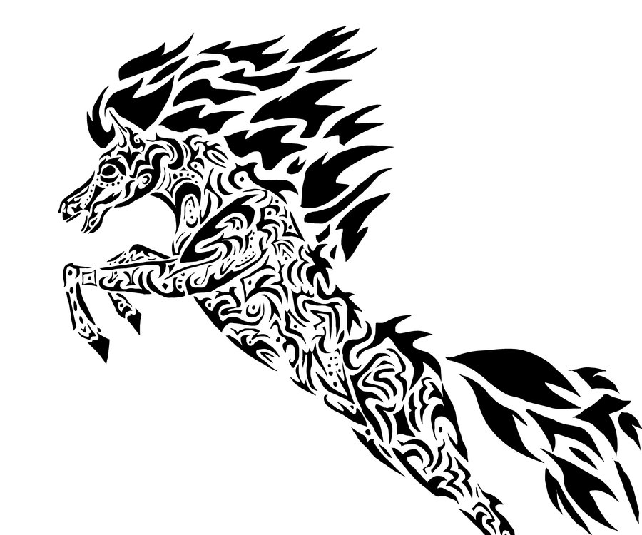 Tribal Jumping Horse Tattoo Design