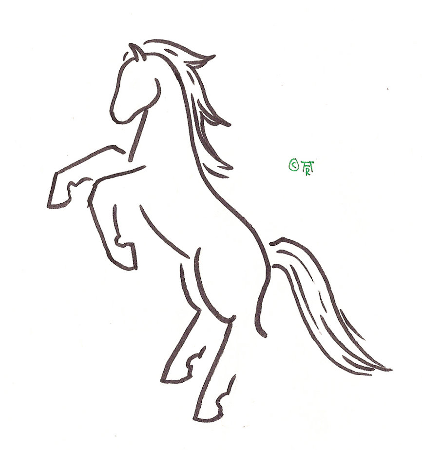 Uncolored Horse Tattoo Sample