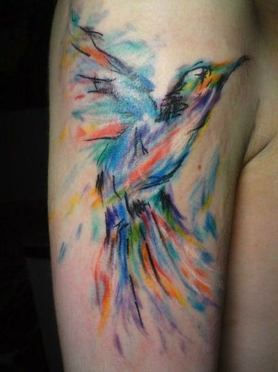 Water Color Hummingbird Tattoo On Upper Arm