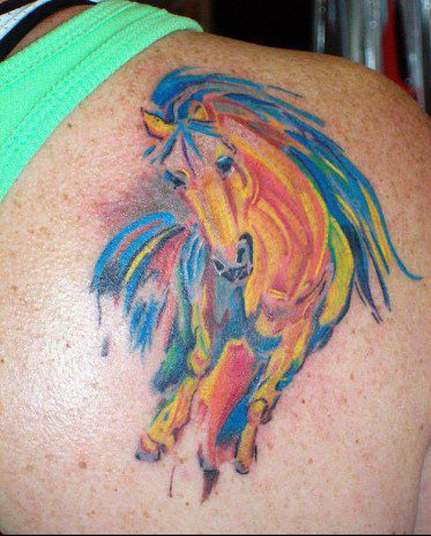 Watercolor Horse Tattoo On Back Of Shoulder