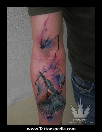 Watercolor Hummingbird Tattoo On Arm For Guys
