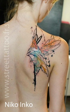 Watercolor Hummingbird Tattoo On Back Shoulder
