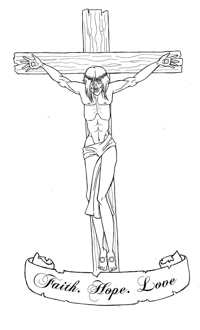 Without Color Jesus Cross Tattoo Design