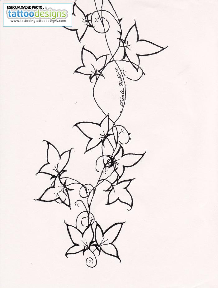 Wonderful Ivy Vine Tattoo Design