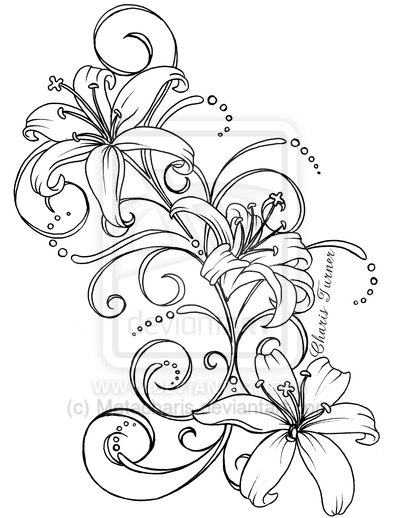 Outline mexican skull tattoo on biceps mexican catrina skull tattoo - Lilies Tattoo Drawing Tattoobite Com