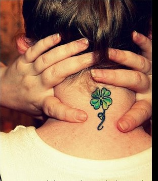 4 Leaf Clover Tattoo On The Neck