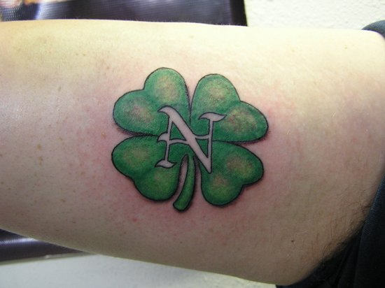 4 Leaf Clover Tattoo With Initials